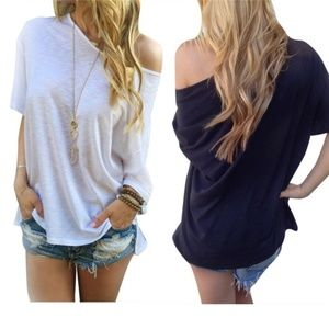 Several Colors! One shoulder batwing tee